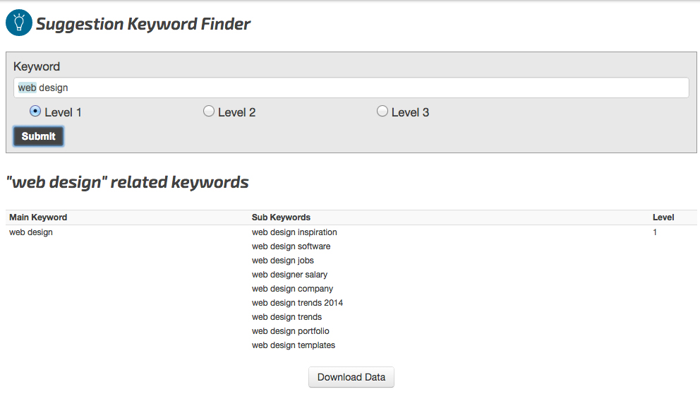Related Key Words Tool – SEO Chat