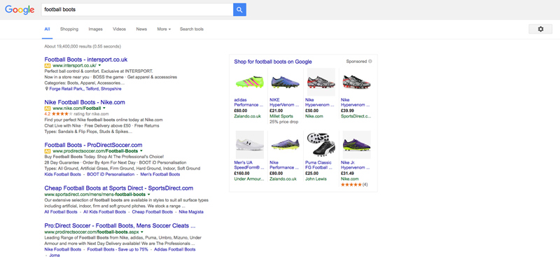 Google adwords ecommerce search