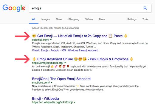 emojis return to google