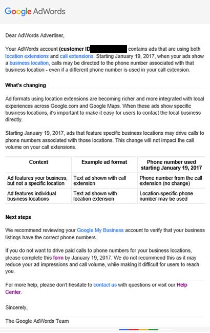 location extension google adwords