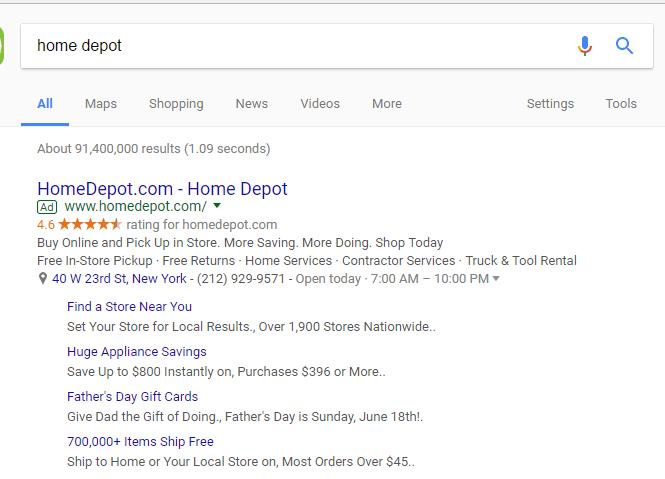 google adwords sitelinks single column test
