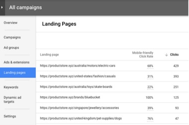 google mobile landing page test