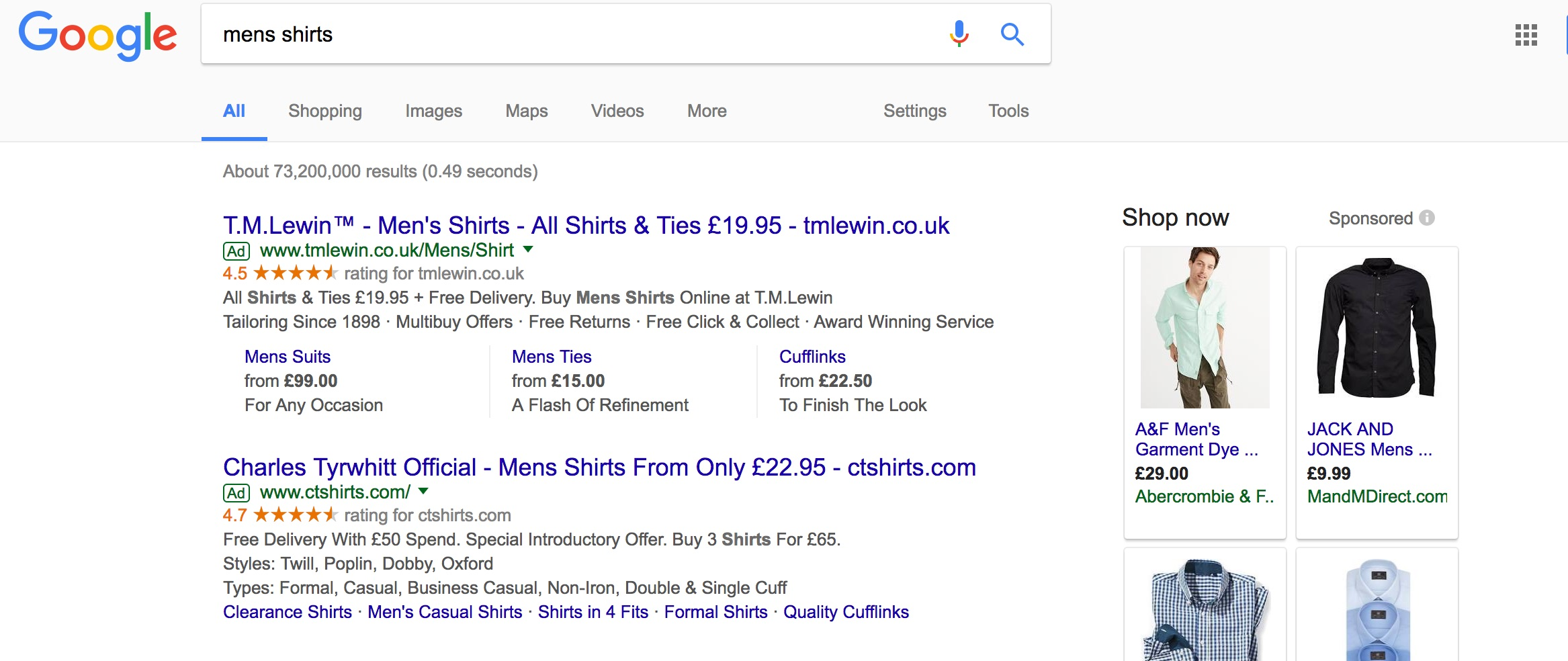 google adwords paid search results