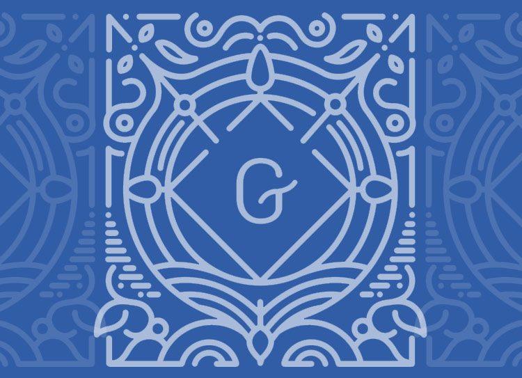 Guttenberg Press - logo - white letter G - blue background
