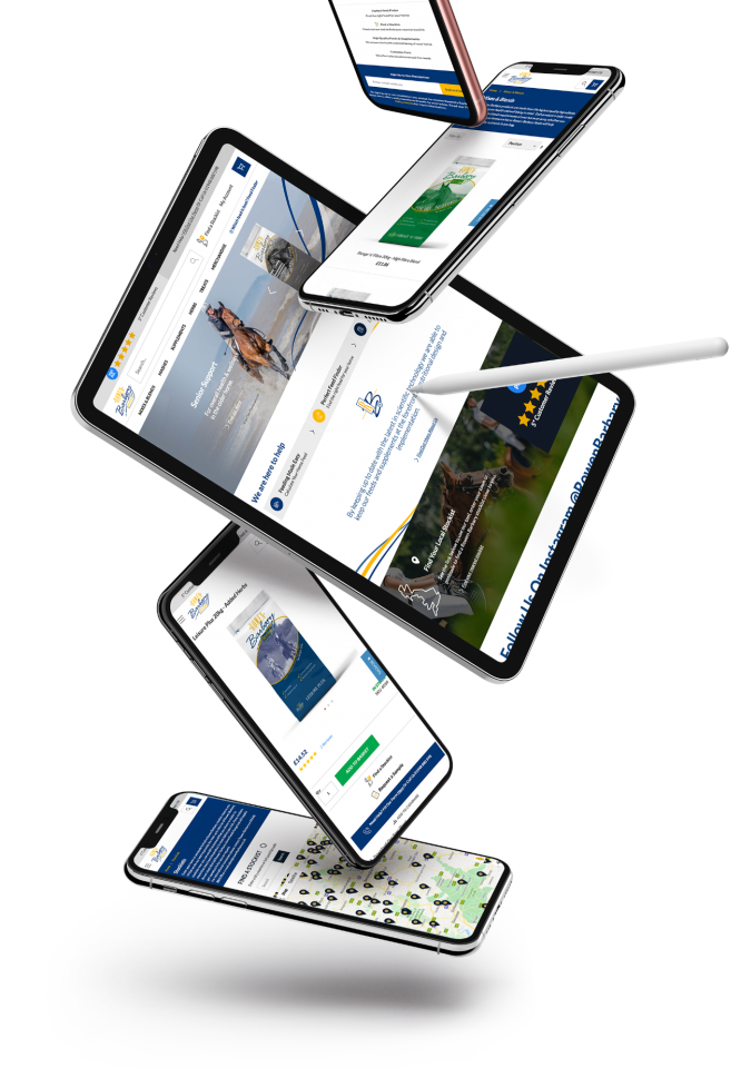falling mobiles with images of website on