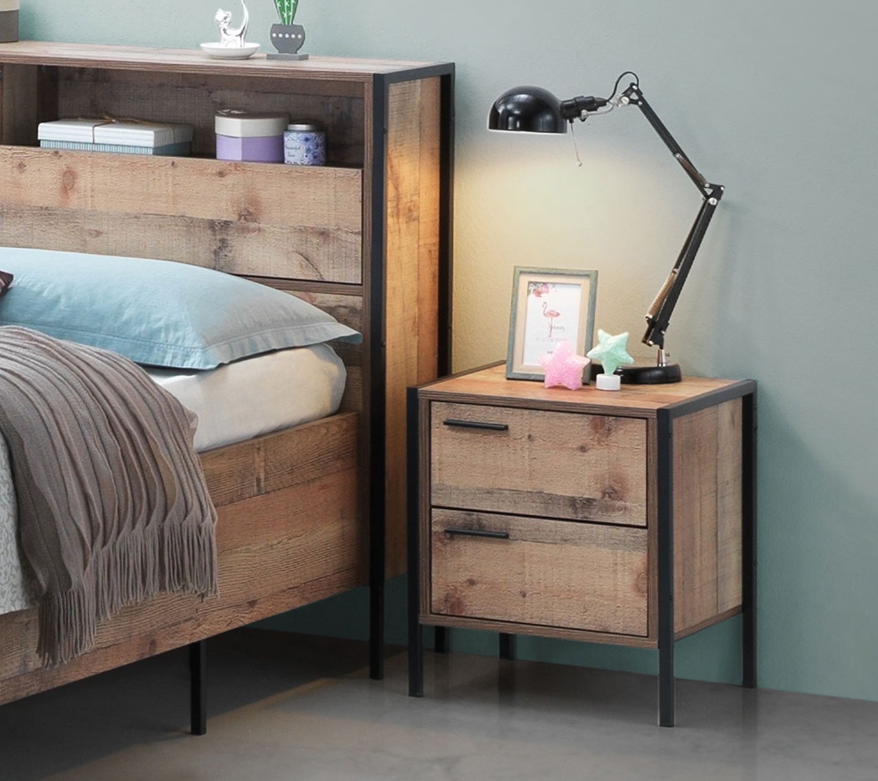 wooden bedside table and wooden bed