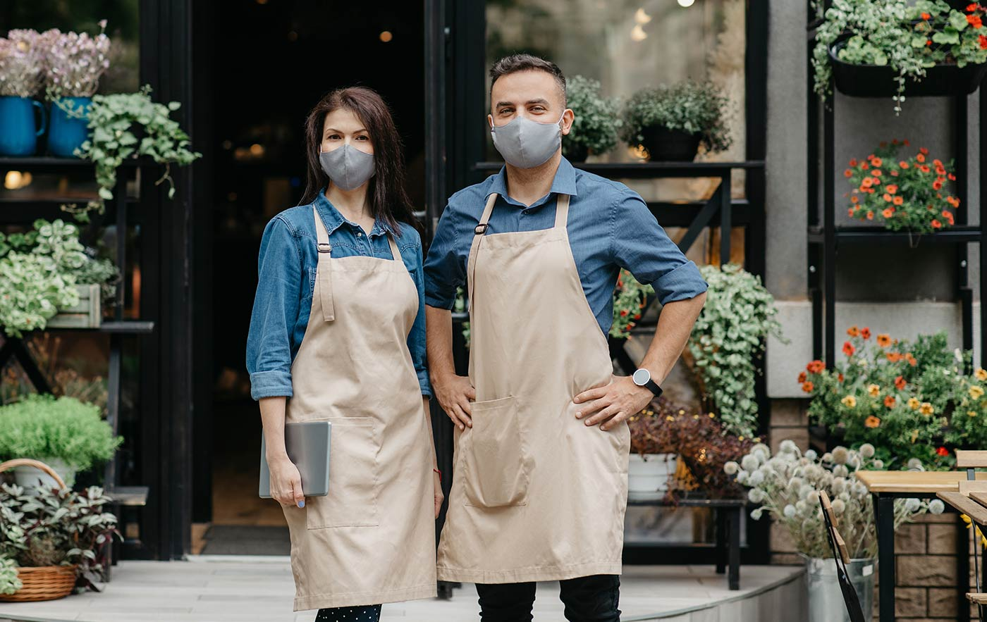 Flower Shop Owners wearing Covid Masks
